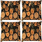 Snoogg Trees Cutted Down Pack Of 4 Digitally Printed Cushion Cover Pillows 12 X 12 Inch