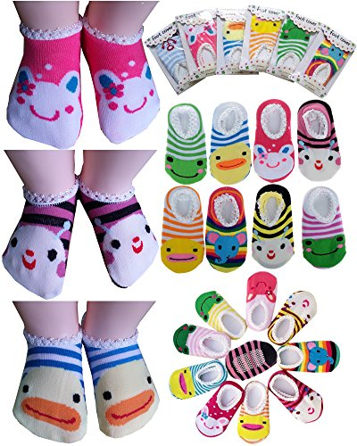 BS® 5 Pairs Age 0-2 Newborn Baby Toddler Anti Slip Skid Socks + Gift bag + Gift Card, Stripes No-Show Crew Boat Socks Footsocks sneakers, Length 9-15cm/3.54-5.9inch