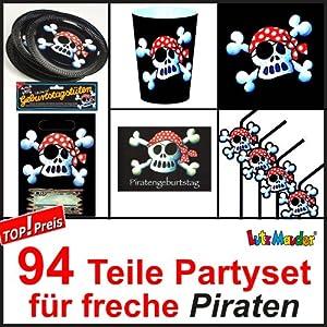 94 teiliges piraten party set f r kindergeburtstag mit 8. Black Bedroom Furniture Sets. Home Design Ideas