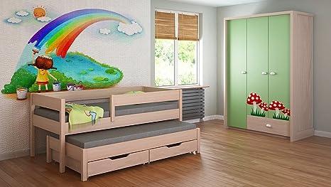 Trundle_Bed_For_Kids_Children_Juniors_Mattress140x70_160x80_180x80_180x90_200x90 with Drawers but No Mattress !!!! (180x80, Light Oak)