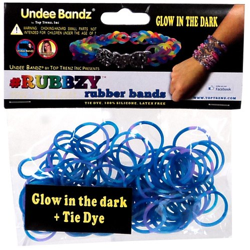 Undee Bandz Rubbzy 100 BLUE & PURPLE GLOW-in-the-DARK Tie-Dye Rubber Bands with Clips [O]