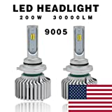 Globled 2x 9005 Led Headlight Bulbs for Cars 200W 30000LM Can-Bus 6000k White/3000k Yellow Turbo Automotive Lamps Led Driving Lights Car Bulbs(D1-9005)