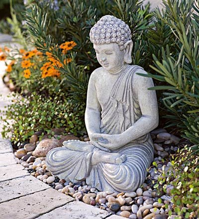 reviews all weather small buddha garden statue 15 1 2 h. Black Bedroom Furniture Sets. Home Design Ideas