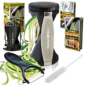 Premium Vegetable Spiralizer Bundle - Spiral Slicer - Best Veggie, Zucchini Spaghetti Pasta Noodle Maker - Black