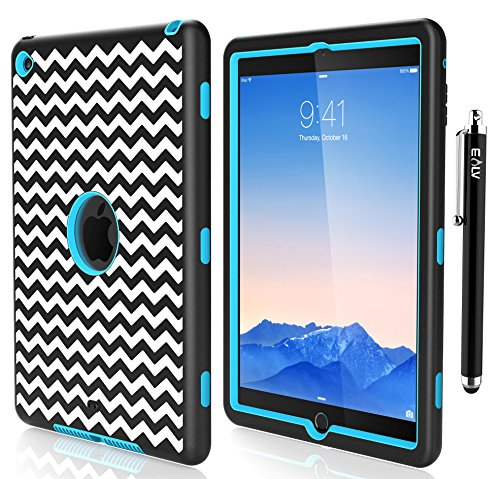 iPad Air 2 Case, E LV iPad Air 2 Case Cover - Dual Layer Hybrid Armor Defender Protective Case Cover for Apple iPad Air 2 with 1 Stylus and 1 Screen Protector - ZIGZAG LIGHT BLUE