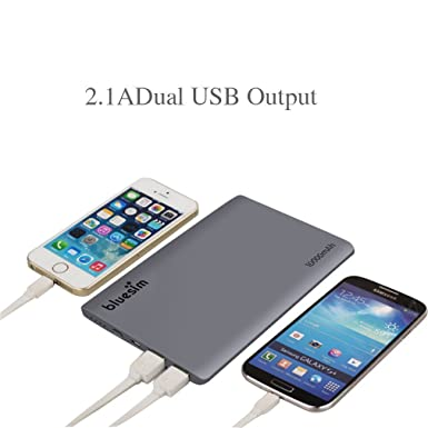 Portable Charger Bluesim Power Bank Slim 10000mah External Battery Dual USB Charger with Flashlight & Fast Charging for Ipad Air, Mini, Iphone 6s, 6plus,5c,samsung Galaxy S5, S4, and More Device(grey)