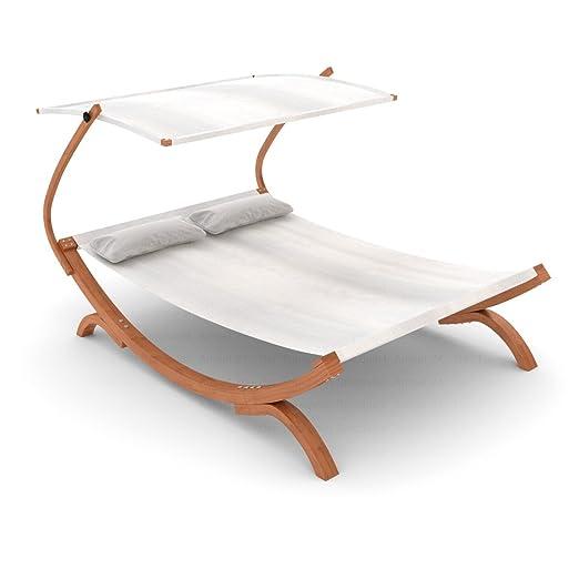 Ampel 24, Bain de soleil, chaise longue PANAMA blanche | avec marquise réglable | transat pour 2 personnes | 230 x 180 cm | chaise de jardin en bois prétraité