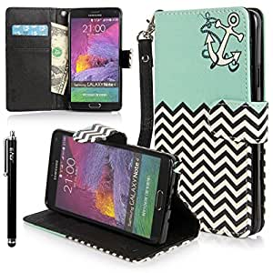Galaxy Note 4 case, Note 4 Flip Case, E LV Samsung Galaxy Note 4 Case Cover - Deluxe PU Leather Flip Wallet Case Cover for Samsung Galaxy Note 4 with 1 E LV Stylus (ZIGZAG MINT)