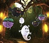 【四葉堂オリジナル】ハロウィンにぴったり!! 紐付き提灯 おばけ コウモリ クモ 大判3点セット / ランタン 飾り ホーム パーティ
