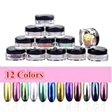 Mirror Nail Powder ,Xisheep 12 Colors Nail Glitter Powder Shinning Nail Mirror Powder Makeup Art DIY Chrome Pigment With 12pcs Sponge Stick (Color: Multicolor, Tamaño: one size)