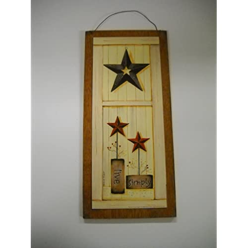 Live Simply Country Wall Art Sign Burgundy Navy Barn Stars Pipberries Primitive