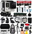 GoPro HERO4 Hero 4 Black Edition 4K Action Camera Camcorder with 128GB All You Need Accessory Bundle includes 2x Micro SD Cards + 2x Extra Batteries + Home & Car Charger + Card Reader + Backpack Bag + Head Helmet Strap + Action Stabilizer Hand Handle + Car Suction Cup Mount + Portrait Selfie Stick Monopod + Full Size Tripod + Medium Travel Case + HDMI Cable + LED Video Light + Floating Float Handheld Grip Bobber + Dust Cleaning Kit (CHDHX-401)
