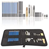Graphite Drawing Pencils and Sketch Set (33-Piece Kit), Complete Artist Kit Includes Charcoals, Pastels and Zippered Carry Case (Color: Black, Tamaño: 33-Piece)