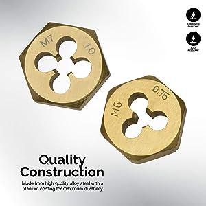 Neiko 00912A Titanium Coated Tap and Hexagon Die Set, 40-Piece, Metric (Renewed)