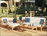 New Luxurious 5 Piece Teak Sofa Set - 1 Sofa, 1 Lounge Chair, 1 Ottoman, 1 Coffee Table And 1 Side Table -Furniture only --Giva Collection #WHSSGV3