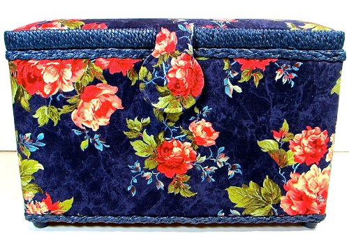 St.Jane Sewing Basket,Navy blue with Red Flowers,plastic Compartment Shelf,handle,12.5