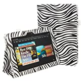 IZKA® - Kindle Fire hd 8.9 HD Unique ZEBRA Design Leather Case Cover and Flip Stand Typing Wallet + ProPen Stylus Pen + Screen Protector - Zebra White & Blk
