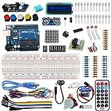Arduino学習キット 様々なマイコン実験や開発用電子部品キット Arduino UNO R3互換ボード LCDキャラクタディスプレイ LED表示器 マイクロサーボ 傾斜スイッチ 赤外線障害物検知センサーモジュール 距離センサー 等付き