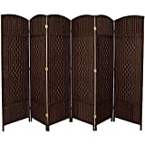 RHF 6 ft. Tall-Extra Wide-Diamond Weave Fiber Room Divider,Double Hinged,6 Panel Room Divider/Screen, Room Dividers and Folding Privacy Screens 6 Panel, Freestanding Room Dividers-Dark Mocha 6 Panel