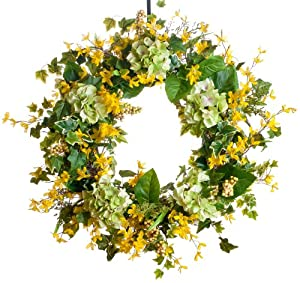 Green Hydrangea & Forsythia Silk Wreath - 28 inch