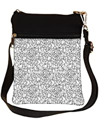 Snoogg Abstract Black And White Design Cross Body Tote Bag / Shoulder Sling Carry Bag