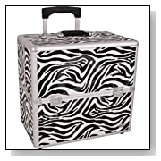 16 inch 6 Tiers Animal Print Aluminum Professional Rolling Wheeled Makeup Artist Organizer
