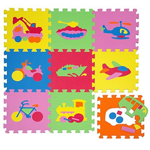 Tappeto Puzzle per Bambini | in Soffice Schiuma EVA | Tappetino Gioco per la Cameretta | con Disegni di Veicoli da Comporre
