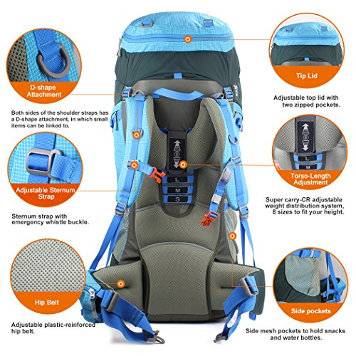 Mountaintop 80l Hiking Backpack Sky Blue Sporting Goods