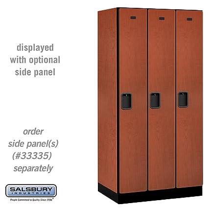 Salsbury Industries 1-Tier Designer Wood Locker with Three Wide Storage Units, 6-Feet High by 21-Inch Deep, Cherry