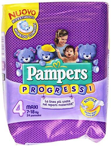 Pampers - Progressi, Pannolino con rete super-assorbente, taglia 4 Maxi - 24 pezzi