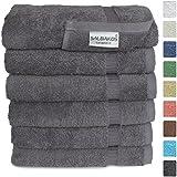 "Turkish Luxury Hotel & Spa 16""x30"" Hand Towel Set of 6 - 100% Genuine Cotton From Turkey - 700gsm Organic Eco-friendly (Hand Towels, Gray)"