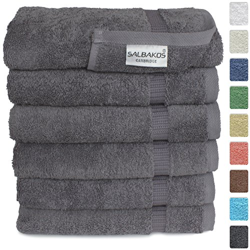 "Turkish Luxury Hotel & Spa 16""x30"" Hand Towel Set of 6 - 100% Genuine Cotton From Turkey - 700gsm Organic Eco-friendly (Hand Towels, Gray)"