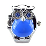 Women's Fashion Lovely Owl Crystals Quartz Finger Ring Watch with Gift Box (Blue) (Color: Blue)
