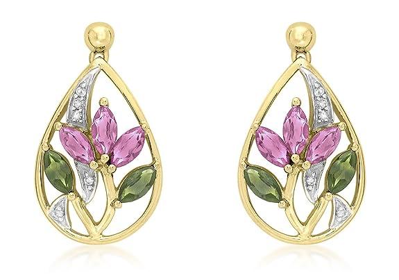 Adara 9 ct Green and Pink Tourmaline Drop Earrings