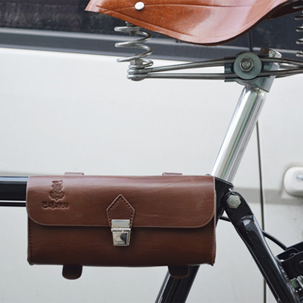 OLizee™ Vintage Style PU Leather Bike Saddle Bag Seat Bag Tail Pouch 3