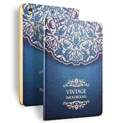 iPad Air 2 Case, HAOCOO Stylish Art Print Ultra Slim PU Leather Flip Smart Stand Protective Case Cover for Apple iPad Air 2(Blue Totem)