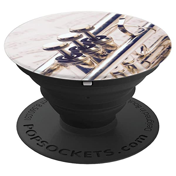 Silver Trumpet Keys Musician Gift - PopSockets Grip and Stand for Phones and Tablets (Color: Black)