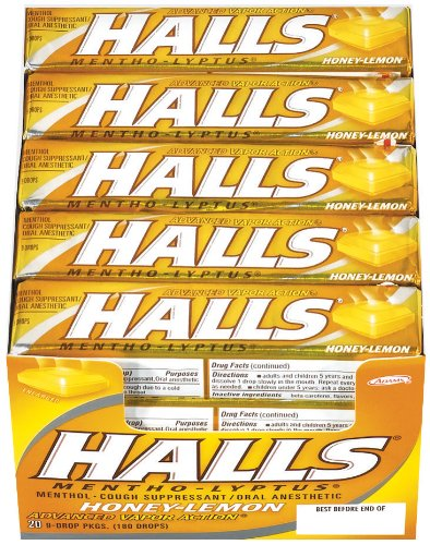 Halls Honey Lemon Cough Suppressant Drop Sticks - 9 Drops /Stick, 20 Ea