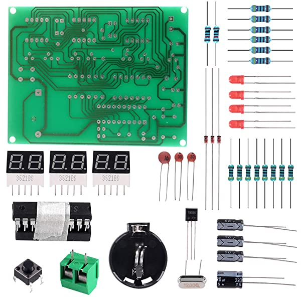 Aoicrie 6-Digit DIY Digital Electronic Clock Kit AT89C2051 Chip Alarm Clock Kit PCB Soldering Practice Learning Kits (Color: 6-digit)