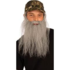 Duck Hunter Costume Camo Hat W/Attached Grey Wig and Beard Set Adult