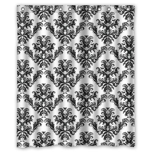 """Atnee Unique Skull Damasks Design Shower Curtain Standard Inch Size 60""""(W) X 72""""(H)"""