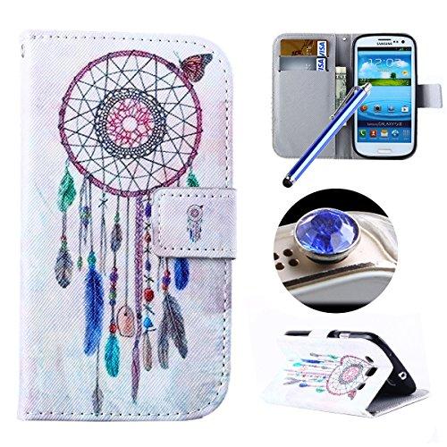 Etsue-Flip-Case-fr-Samsung-Galaxy-S3I9300-Leder-Schutzhlle-fr-Samsung-Galaxy-S3I9300-Samsung-Galaxy-S3I9300-Wallet-Case-Tasche-Colorful-Beautiful-Retro-Design-Tier-Katze-Schmetterling-Eiffelturm-Mdche