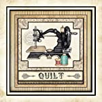"""Sewing Quilting Signed Art Print by Dan Morris 12""""x12"""" titled Thimble Pleasures 4"""