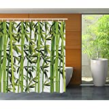 Bamboo Trees Green Nature Art Prints Wildlife High Resolution Creative Bath Cool Home Textile Fanciful Shower Design Special Collection Print Fabric Shower Curtain - Machine Washable