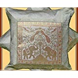 CRAFT OPTIONS SILK BROCADE CUSHION COVER(SILVER COLOR)