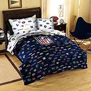 NFL League ALL TEAMS Football Sports Bedding 4pc Twin Size Comforter and Sheet Set