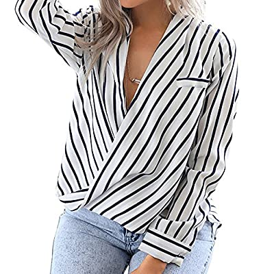 Eliacher Women's Casual Long Sleeve Shirts Striped Chiffon Blouse