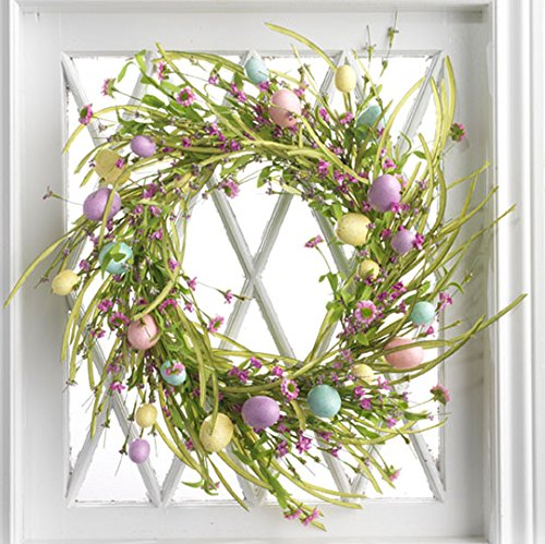 Spring Easter Wildflower and Easter Egg Wreath