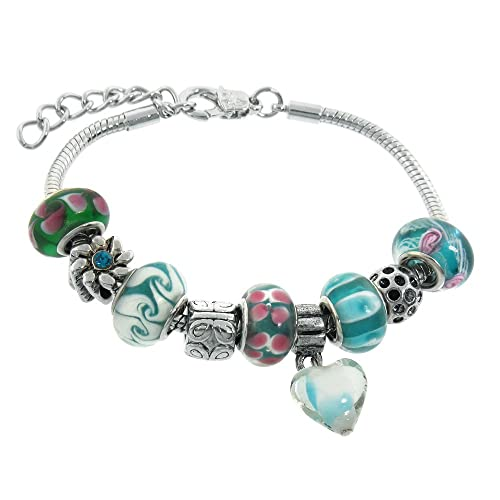 Murano Style Glass Beads and Charm Bracelet