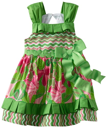 Mud Pie Baby-Girls Newborn Little Sprout Pleated Ruffle Sun Dress, Multi-Colored, 0-6 Months